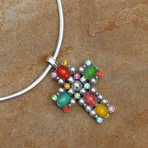 Chunky Boho Cross Necklace Silvertone Statement